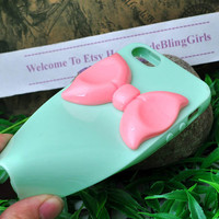mint green soft silicone cover for  iphone 5 case with pink resin bow