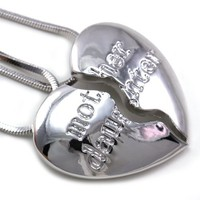 Mother and Daughter Heart Necklace Pendant Engraved Mother's Day Jewelry Gift for Mom