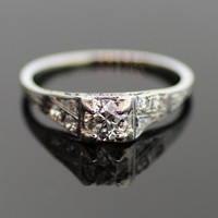 Antique Diamond Engagement Ring-18k White Gold