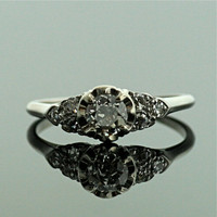 Antique Platinum Diamond Engagement Ring