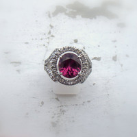 Silver ring, natural 3.9 carat Red Garnet. Handmade ArtDeco with white Ceylon sapphires Payment Plan is available.