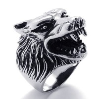 KONOV Jewelry Vintage Men's Wolf Head Stainless Steel Ring - Silver (Available in Sizes 8 - 14) - S