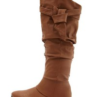 Leatherette Bow Top Boot: Charlotte Russe