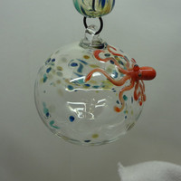 Blown-Glass Octopus Ornament - Confetti No.1 - Christmas or Anytime Ornament
