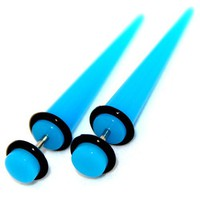 Fake Cheaters Illusion Tapers Expanders Stretchers Plugs (Color Turquoise, Shaft Size 16G or (1.2mm