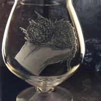 Newborn baby dragon in hand, glassware , engraved one of a kind brandy glass  brandy snifter gift ideas