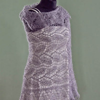 Shinny gray lacy stole, hand knitted in Estonian stitch pattern