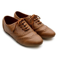 Ollio Women's Classic Dress Oxfords Low Flats Heels Lace Up Brown Shoes