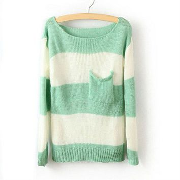 Stripe Pocket Woolen Blend Sweater For Women