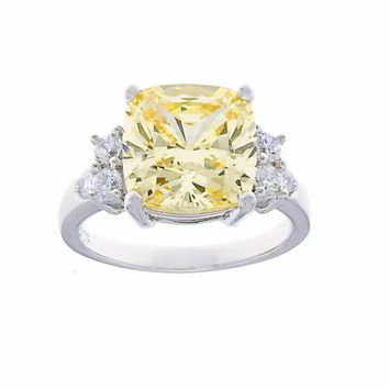 Platinum Plated Sterling Silver Yellow Cushion Cut Cubic Zirconia Ring, Size 7