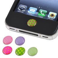 eForCity 6 Pieces Home Button Sticker compatible with Apple® Iphone® / iPad® / iPod® touch, Dot / S