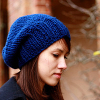 Knit Hat Chunky Slouchy Hat for Women or Men Navy Blue