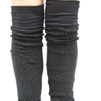 Black bamboo knit  leg warmers