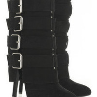 Balmain|Buckle-embellished suede boots|NET-A-PORTER.COM | $1,605