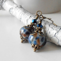 Handmade Beaded Jewelry Lampwork Earrings Vintage Style Dangles Navy Blue Brown Antiqued Bronze Beaded Earrings Under 25