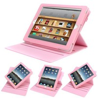 Evecase® Pink Book-Form 360-Degree Rotating Folio PU Leather Stand Case for Apple iPad 3 / iPad 4 /