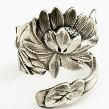 Spoon Ring Unique Art Nouveau Lotus Blossom Sterling by Spoonier