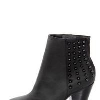Steve Madden Acedd Black Leather Studded Ankle Boots