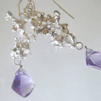 Earrings with Salt Cast Recycled Sterling Silver  and Amethyst Briolettes