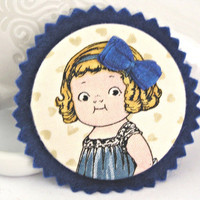 Nancy Felt brooch Cute fabric Vintage by TyssHandmadeJewelry