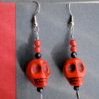 Red Skull Earrings Halloween Day of the Dead with Black Crystals