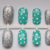 Teal and Silver Nautical Fake Nails - False, Artificial, Acrylic, Press-On