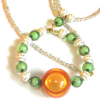 Chunky necklace orange green and cream silver
