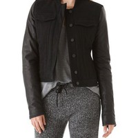 T by Alexander Wang Jean Jacket with Leather Sleeves | SHOPBOP