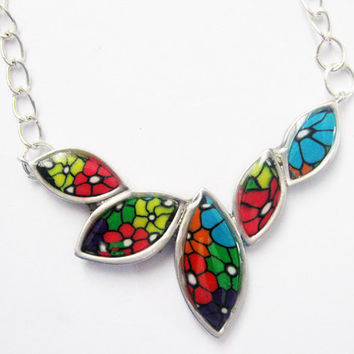 Leafs of Spring Rhodium plated Millefiori Necklace Pendant by Orly Kliger