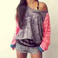 Burn Out Super Loose Pink Raglan Sports Tunic