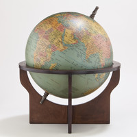 Green Globe with Brown Wood Stand - World Market