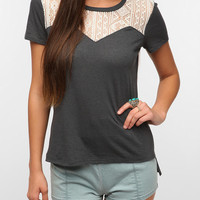 Daydreamer LA Lace Yoke Nubby Tee