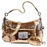 Coach Limited Edition Sequin Groovy Convertiable Shoulder Bag Purse 15381 Gold