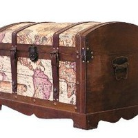 Victorian Ancient World Map Wooden Trunk Wood Treasure Chest - Large