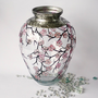 Hand Painted Glass Vase Cherry Blossom Sakura2 by NevenaArtGlass