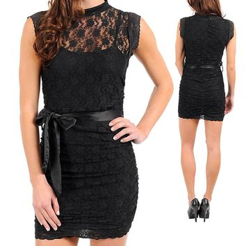 BLACK LACE DRESS WITH BOW DETAIL