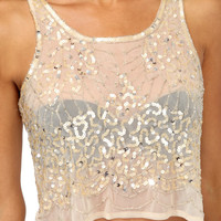 Embellished Waves Mesh Tank