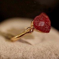 Delicate Cute Style Heart Shape Finger Ring
