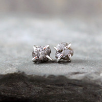 Natural Rough Diamond and Sterling Silver Stud Earrings - Rustic Round Shape - April Birthstone