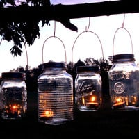 Mason Jar Garden Lanterns Hanging Tea Light by TheCountryBarrel