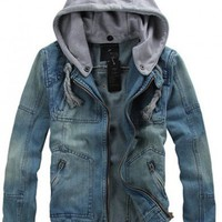 *Free Shipping* Men Jean Jacket Coat M/L/XL S0D13-1 from efoxcity
