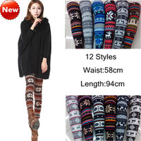 Women's Deer Snowflake Knitted Leggings Winter Thick Warm Tights