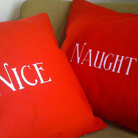 Naughty and Nice Screen print throw pillow set by TheCoinLaundry
