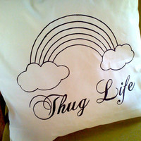 Thug Life Screen Print Cotton Canvas Throw by TheCoinLaundry