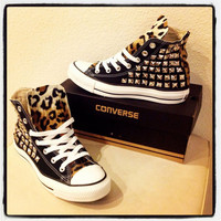 Custom studded black Converse Chuck Taylors by KillerCreationz