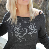 Octopus Sweatshirt Dark Gray Organic Cotton Womens by RevivalInk