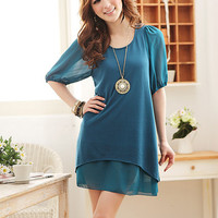 Simple Style Delicate Comforbale Blue Ladies Dresses : Yoco-fashion.com