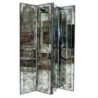 Sarlo - Spectacular Antiqued Mirror 4 panel Screen