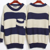 Oversized Stripe Knit Sweater  from Basiques Boutique