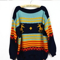vintage deer classic patterned sweater -B from Fashion Accessories Store